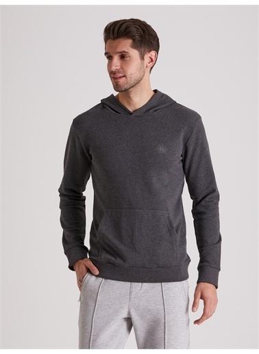 Dufy Düz Kapüşonlu Erkek Sweatshirt - Regular Fit Antrasit